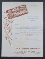 Facture 1947 PARIS SEITA Allumettes soufrées boite box of matches illustrée 40