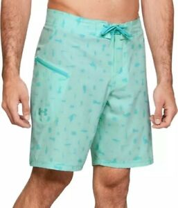 """Under Armour men's Tide Chaser 8.25"""" Aqua print Board Shorts size 40 retail $55"""
