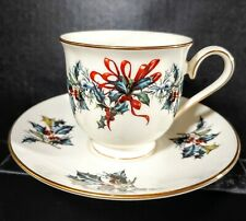 Lenox Winter Greetings Footed CUP & SAUCER Holly Christmas  Ivory China