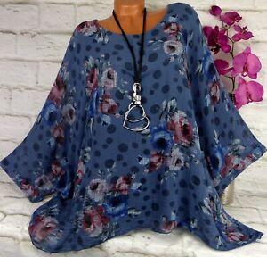 Oversize Bluse Shirt Top Tunika Poncho Hängerchen Baumwolle Blau  48 50 52 54