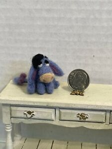 Vintage Artisan Stuffed Felt Eeyore for Childs Room Dollhouse Miniature 1:12
