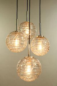 VTG Doria Glass Ball Pendant Lamp 4 Light Chandelier MCM 1960's - 1970's