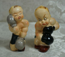 Vintage Boxer Kids Boxing Salt And Pepper Shaker Set Japan