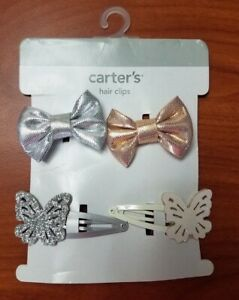 NEW CARTERS BABY GIRLS HAIR CLIPS SILVER GOLD BOWS WITHE SILVER BUTTERFLY