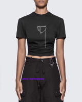 HYEIN SEO Pleated Letter Chain Short-Sleeved T-Shirt Slim Fit