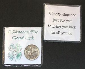 A LUCKY SIXPENCE COIN KEEPSAKE FOR A GOOD LUCK (FOUR LEAF CLOVER)