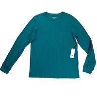 Richer Poorer Long Sleeve Pocket Tee Shirt Size Medium Mens Green Organic NEW