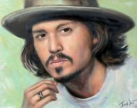 Johnny Depp oil portrait original painting art Hand Drawn Canvas artwork