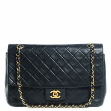 CHANEL Vintage AUTHENTIC Lambskin Quilted Single Flap Chain Bag (Black)