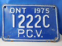 ONTARIO CANADA LICENSE PLATE 1975 PCV 1222 C VINTAGE PUBLIC SERVICE VEHICLE
