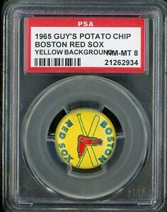 1965 Guy's Potato Chips Pin Yellow Background Red Sox PSA 8 NM-MT
