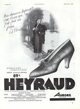 PUBLICITE  CHAUSSURES  HEYRAUD  AURORE MODE FASHION  SHOES  AD  1933 -1H