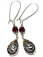 A Pair Long Dark Red Earrings Tibetan Silver Style Glass Bead Boho Hippy