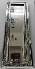 Diamond Crush Crystal Dressing Silver Sparkly Full Length Wall Mirror 120X40cm