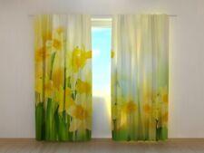 Cortina Foto-Gardine con Motivo De 2-er Set Natural Flores Narcisos Amarillo