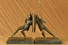 Vintage Cast Iron Japanese Soldiers Bookends 100% Real Bronze Sculptural Figure
