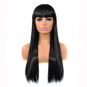 Synthetic Hair Long Straight Wig Blunt Fringes No Lace Natural Black Full Bangs