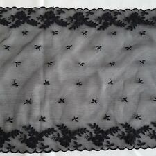 Black double floral edge embroidery trim (see thru) 24cm wide - 5m