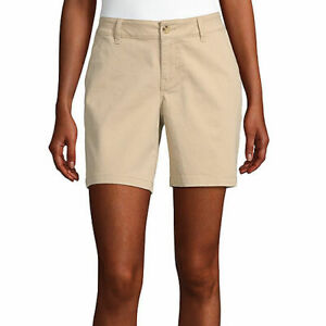 a.n.a. Women's Mid Rise Twill Chino Shorts Size 12 Gold Dust NEW 7 Inch Inseam