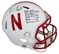"""Nebraska Tommie Frazier """"Career Stat"""" Signed Full Size Speed Rep Helmet BAS"""