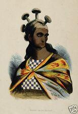 Hawaiian guerrier avec champignon crest 1819 jacques arago, 7x5 pouces imprimer