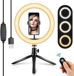 10'' LED Ring Light Phone Holder Pro Portable Photo Selfie Makeup Tripod Stand