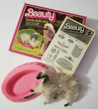 BARBIE DOLL PETS ACCESSORIES DOG BEAUTY AFGHAN HOUND WITH BED INCOMPLETE BOX