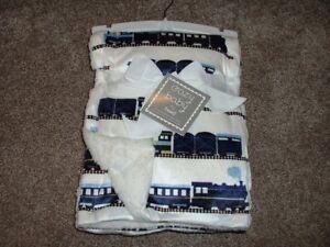Cozy Baby Thro Ivory Timothy Trains Blanket Throw Baby Boys Navy Green NWT RARE