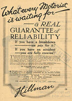 1920 Original Vintage Hillman Motor Car Automobile Auto Art Print Ad