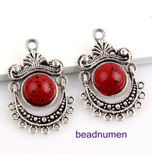 10pcs tibet silver red turquoise connectors 32x21mm #1E7