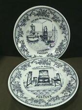 "(2) Vtg. GIEN France ""100 ans de Sanitaire-Porcher"" Blue/White Plates,France"