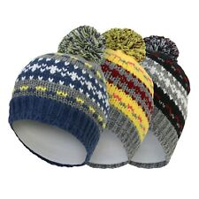 Boys Kids Warm Winter Knitted Bobble Beanie Hat Age 6-10 Years Blue Yellow Black
