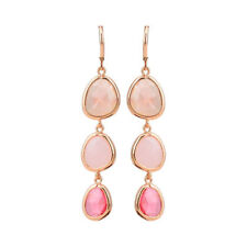 Colorful Stone Gifts Geometric Pink Dangle Crystal Earrings Long Drop
