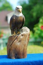 "Signed Wildlife, wood carving art,  Bald Eagle Bird 6"" on Stump 12"""