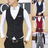 Fashion Mens Waistcoat Tops Suit Vest Tuxedo Wedding Formal Casual Coat Tops UK