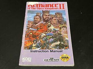 Romance of the Three Kingdoms II 2 Sega Genesis Manual Instruction Booklet RTK2