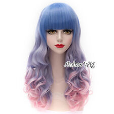 Pink Mixed Blue Ombre Curly 65CM Lolita Hair Cosplay Wig + Bangs