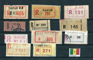 SENEGAL, 11 alte R-Zettel, verschiedene Typen, sehr selten