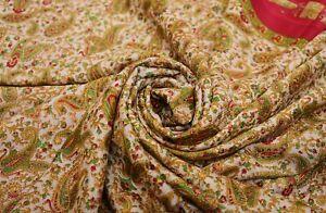 Vintage Beige Sari Mousseline Soie Imprimé Cachemire Craft Faisant Décor Tissu