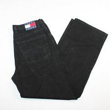 Vintage Tommy Hilfiger Sz 36 X 34 Black Denim Jeans Big Flag Logo Streetwear