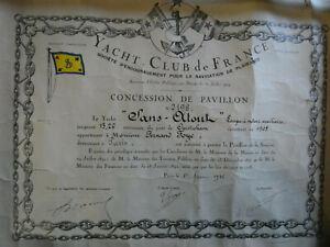 YACHT CLUB de FRANCE concession de pavillon 1926 prix du guidon croisière 1925
