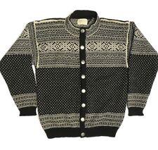 Nordic Nomad Cardigan Sweater Womens Large Black Vintage Wool Fair Isle Usa