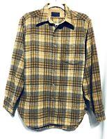 Pendleton Lodge Shirt Size Medium Mens Plaid Wool Button Up Brown
