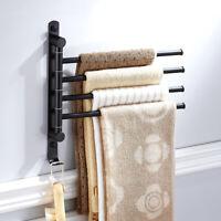 Bathroom Stainless Steel Towel Rack Holder Rail Hanger with 4 Swivel Bars