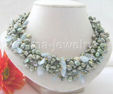 "P5208-18"" 6row green Reborn Keshi freshwater pearl + Aquamarine necklace- GP"