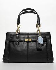 Coach Carryall Satchel Tote Purse Bag Handbag Black Leather Purse 2 handles Nwt