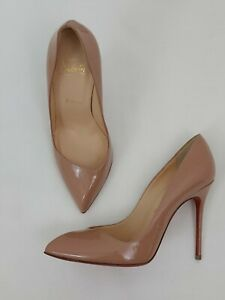 Christian Louboutin Pigalle Nude Patent Leather Heels Pumps Red Soles Size 37
