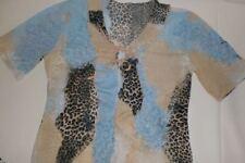 Partyshirt mit Tierfellmuster Gr. S Volantkragen Bändchen