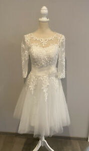 Hochzeitskleid Brautkleid Standesamt Kurz Tüll Tattoospitze Größe 34