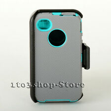 iPhone 4 iPhone 4s Defender Hard Shell Case w/Holster Belt Clip (Gray/Teal Blue)